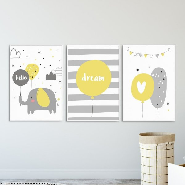 Zestaw plakatów dziecięcych - HELLO ELEPHANT