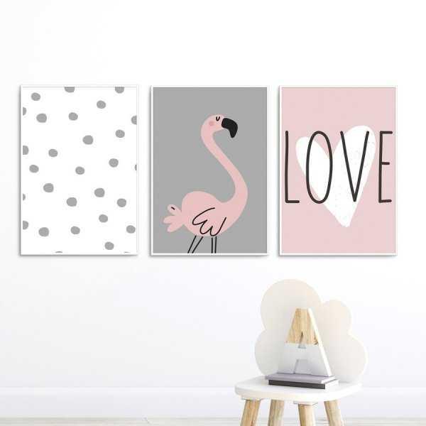 Zestaw plakatów dziecięcych - LOVELY FLAMINGO