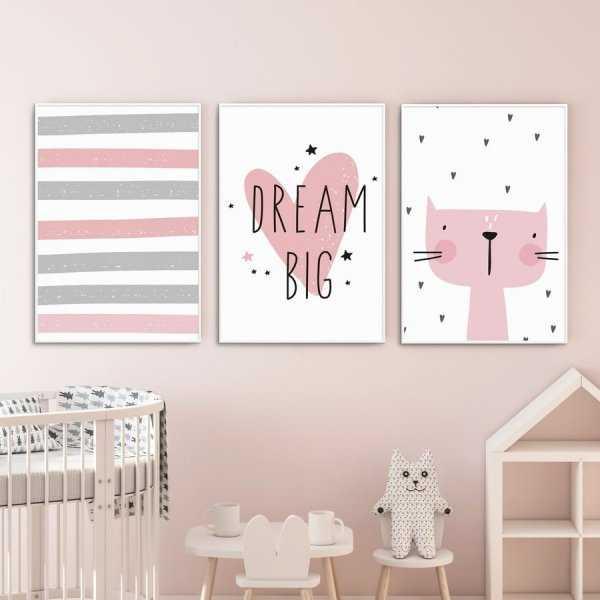 Zestaw plakatów dziecięcych - PINK MEOW