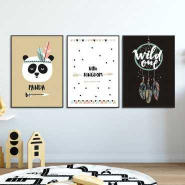 Zestaw plakatów dziecięcych - PANDA FEATHERS