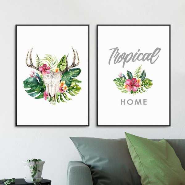 Zestaw dwóch plakatów - TROPICAL SKULL