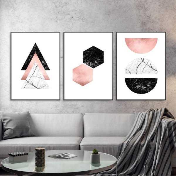 Zestaw trzech plakatów - ROSE GOLD ART