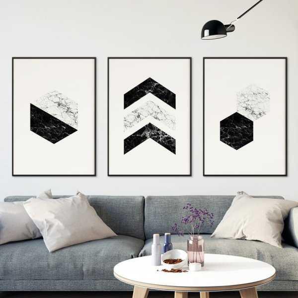 Zestaw trzech plakatów - BLACK AND WHITE MARBLE