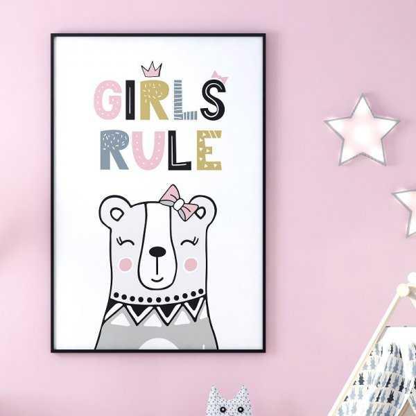 GIRLS RULE - Plakat dla dzieci