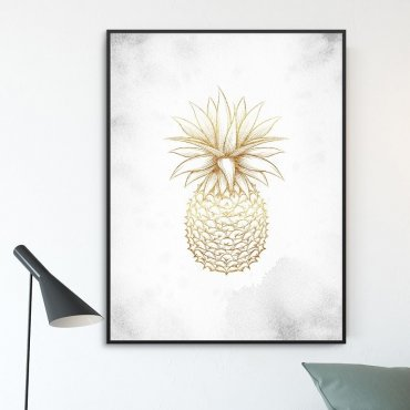 Plakat w ramie - Golden Ananas