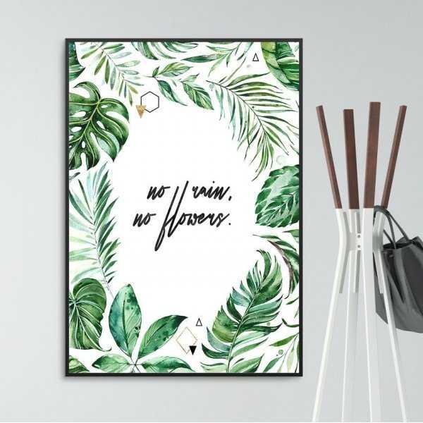 Plakat w ramie - No rain, no flowers