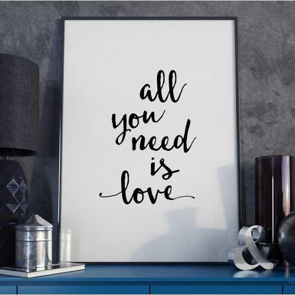 ALL YOU NEED IS LOVE - Plakat Typograficzny