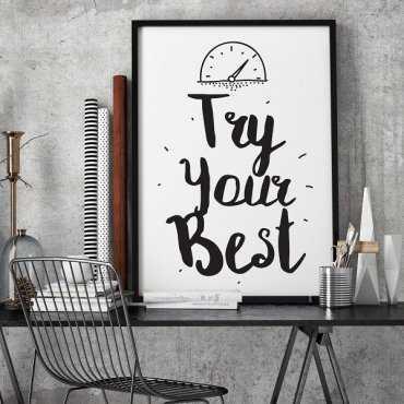 Try you Best - Plakat motywacyjny w ramie