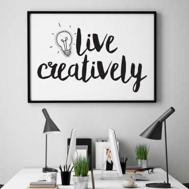 Live creatively - Plakat motywacyjny w ramie