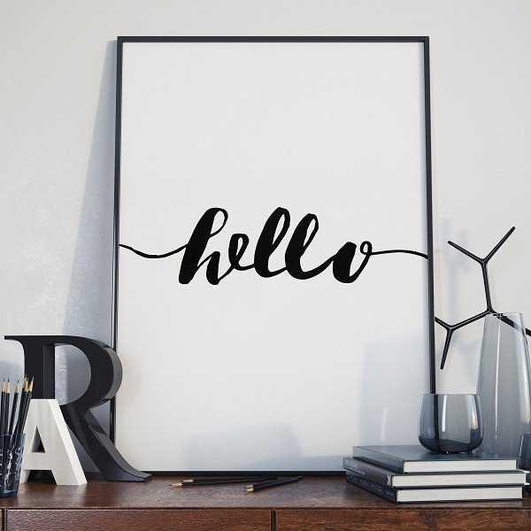 Hello - Plakat w stylu skandynawskim