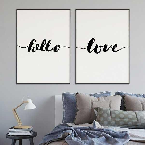 Hello & Love - Komplet plakatów w ramach