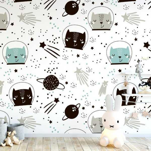 Tapeta dziecięca - SPACE CATS