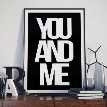 YOU AND ME - Designerski plakat typograficzny