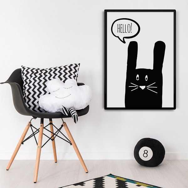 """KRÓLICZEK """"HELLO"""" - Skandynawski plakat dziecięcy"""