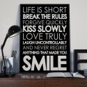 LIFE IS SHORT, SMILE - Plakat Typograficzny