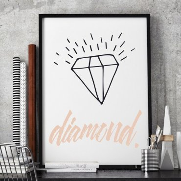 DIAMENT - Stylowy plakat w ramie