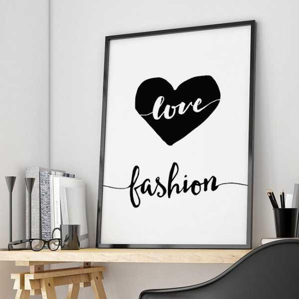 LOVE FASHION - Designerski plakat w ramie dla kobiety