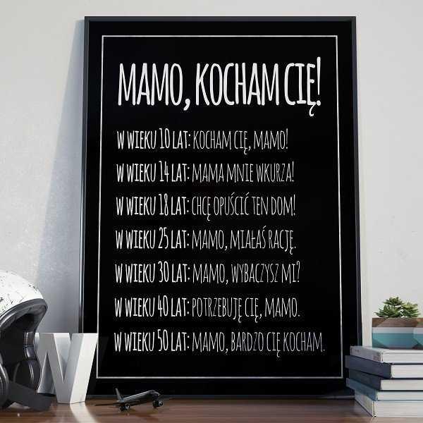 MAMO, KOCHAM CIĘ! - Plakat typograficzny na ścianę