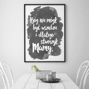 Bóg stworzył mamy - Plakat typograficzny w ramie