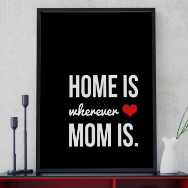 HOME IS WHEREVER MOM IS - Plakat typograficzny w ramie