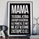 Mama jest niezastąpiona - Plakat typograficzny w ramie
