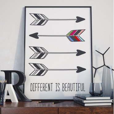 DIFFERENT IS BEAUTIFUL - Plakat Typograficzny