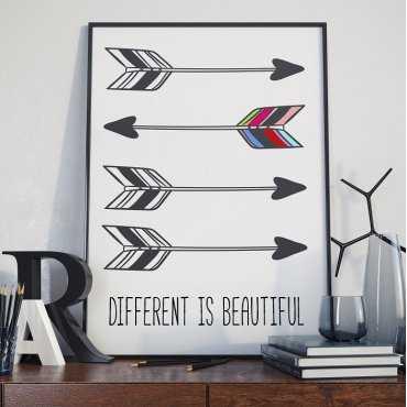 DIFFERENT IS BEAUTIFUL - Plakat Typograficzny