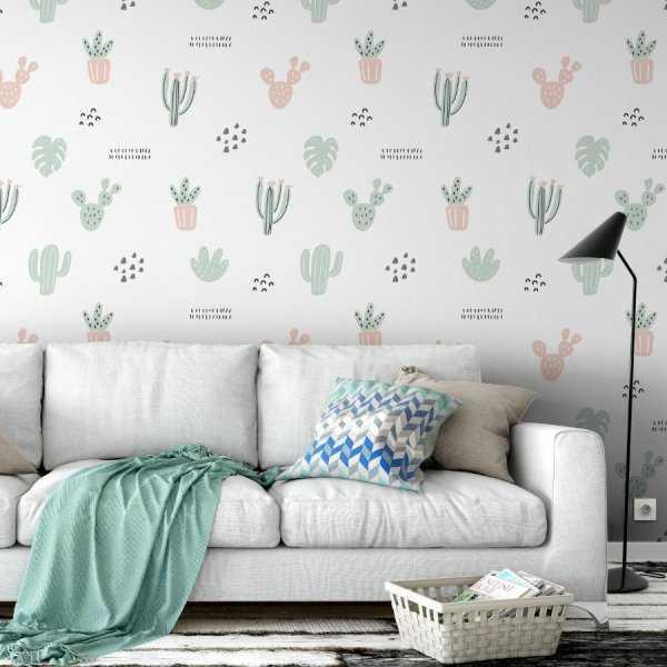 Tapeta na ścianę - MINIMAL PASTEL PLANTS
