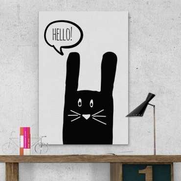 Króliczek Hello - Obraz na płótnie