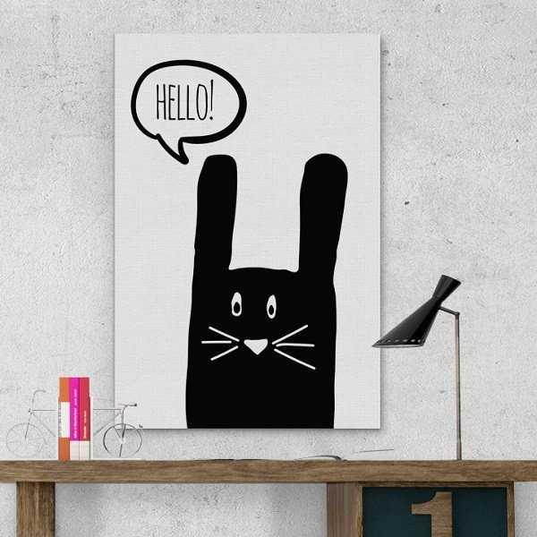 Króliczek Hello - Modny obraz dla dzieci