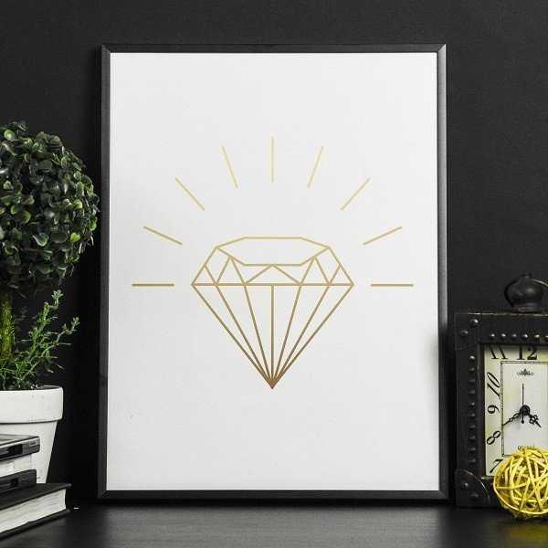 Błyszczący diament - Plakat w ramie