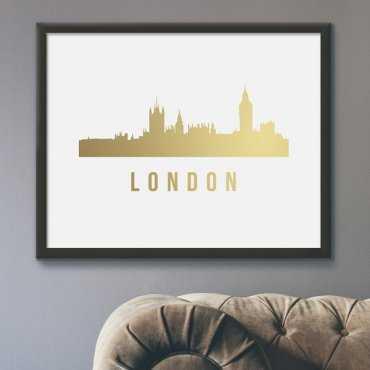 Panorama Londynu - Plakat ze złotym nadrukiem