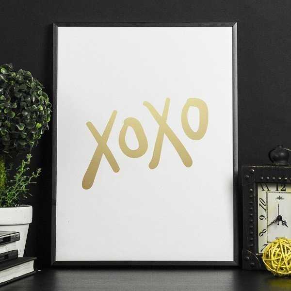 XOXO - Plakat w ramie ze złotym nadrukiem