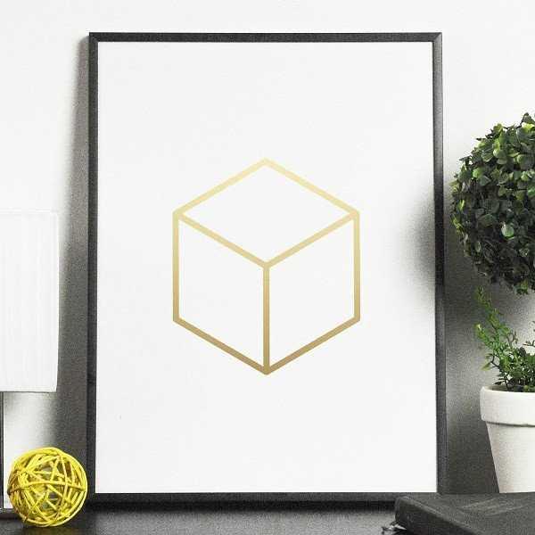 SZEŚCIAN - Plakat w ramie ze złotym nadrukiem