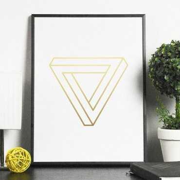 Bryła 3D - Plakat w ramie ze złotym nadrukiem