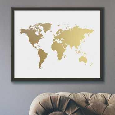 MAPA ŚWIATA - Plakat ze złotym nadrukiem