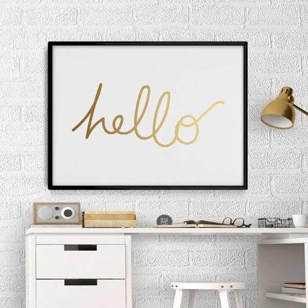 Hello - Plakat ze złotym nadrukiem