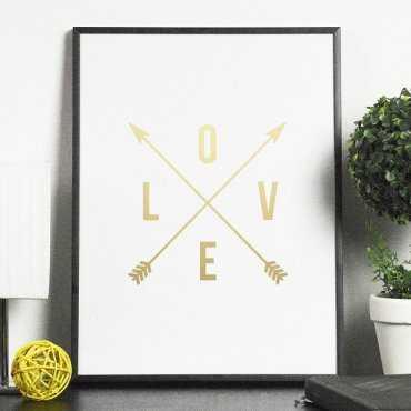 LOVE - Plakat ze złotym nadrukiem