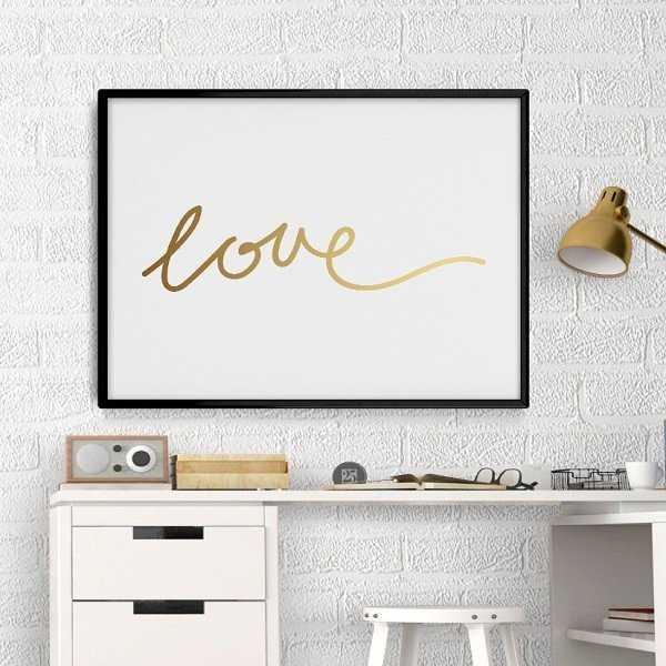 LOVE - Plakat minimalistyczny ze złotym nadrukiem