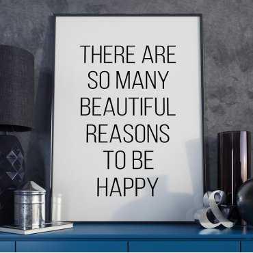 REASONS TO BE HAPPY - Plakat Typograficzny