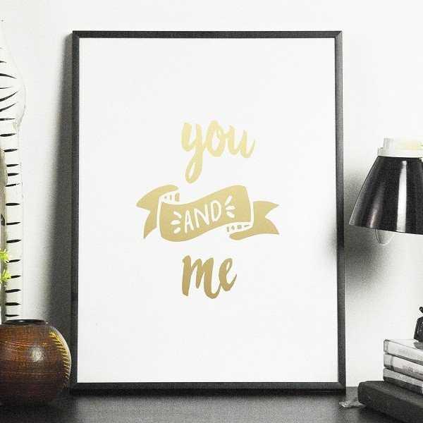 YOU AND ME - Plakat ze złotym nadrukiem