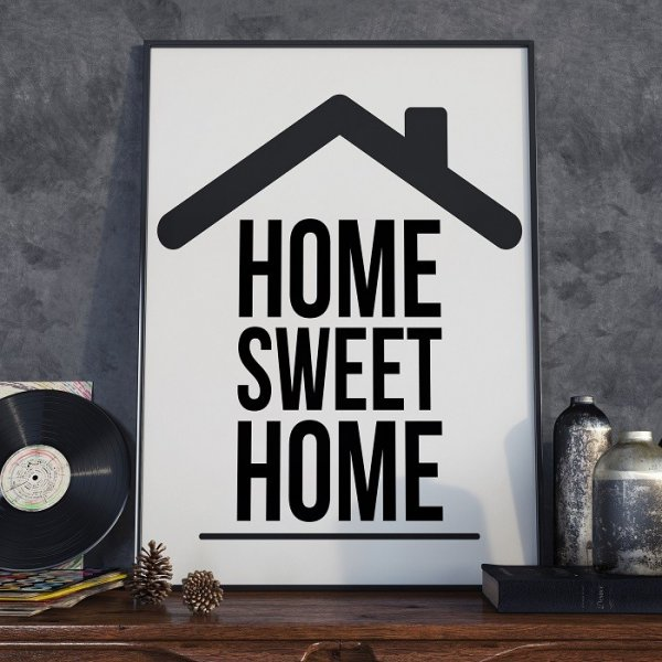 HOME SWEET HOME - Plakat Typograficzny
