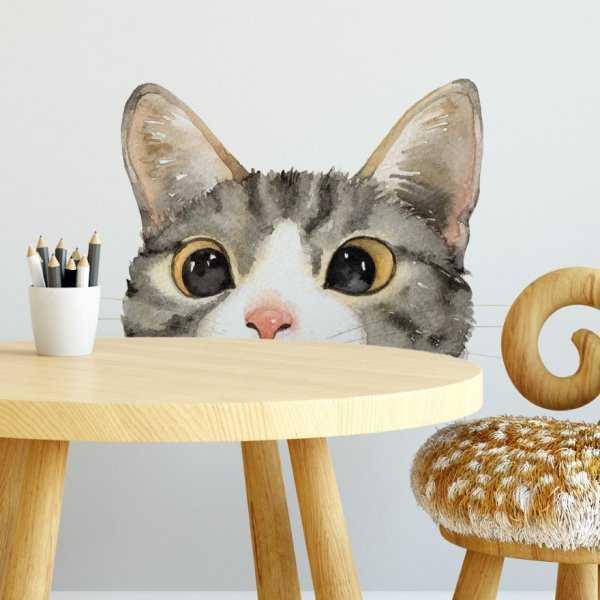 Naklejka na ścianę - HIDING CAT