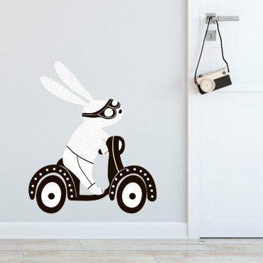 Naklejka na ścianę - RIDING RABBIT