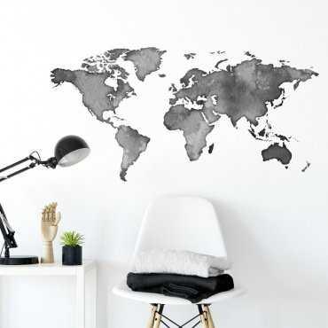 Naklejka na ścianę - Shadow World Map