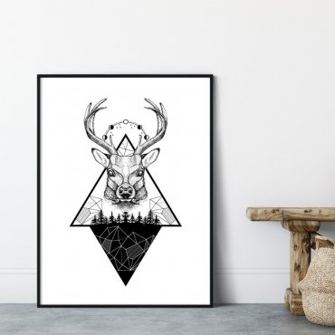 Plakat w ramie - MOUNTAINS DEER