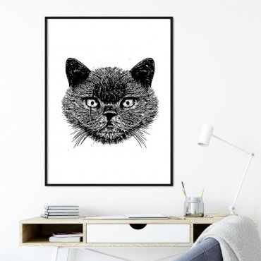 Plakat w ramie - NIGHT CAT