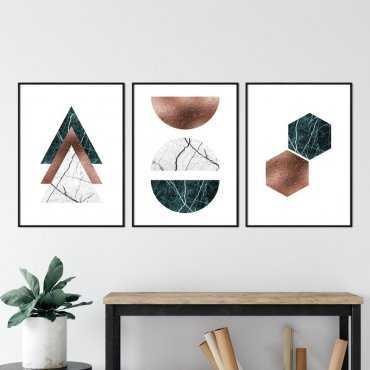 Zestaw trzech plakatów - BOTTLE GREEN BRONZE