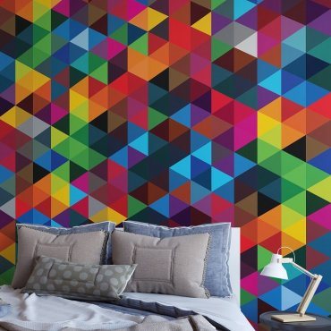 COLORIVER - Tapeta w kolorowe trójkąty