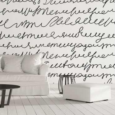 NAPISY ODRĘCZNE - Designerska tapeta ścienna